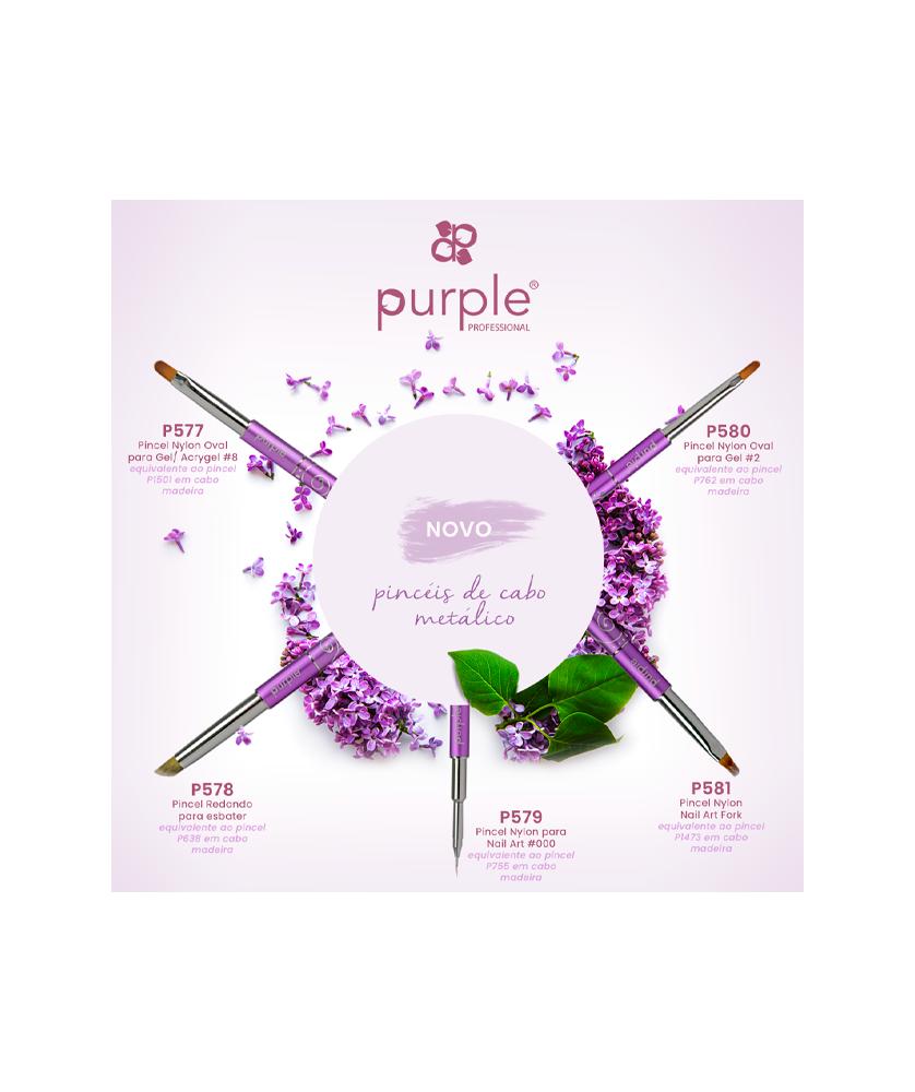 Imagem de Purple - Pincel Oval Nylon Gel #2 Metal Handle